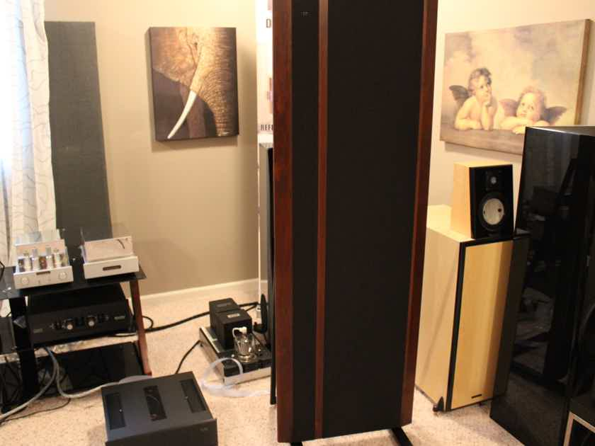 "Magnepan 3.7R Speakers Black/Cherry, Like New, MYE Stands, Upgraded jumpers and fuses, ""wonderful"""