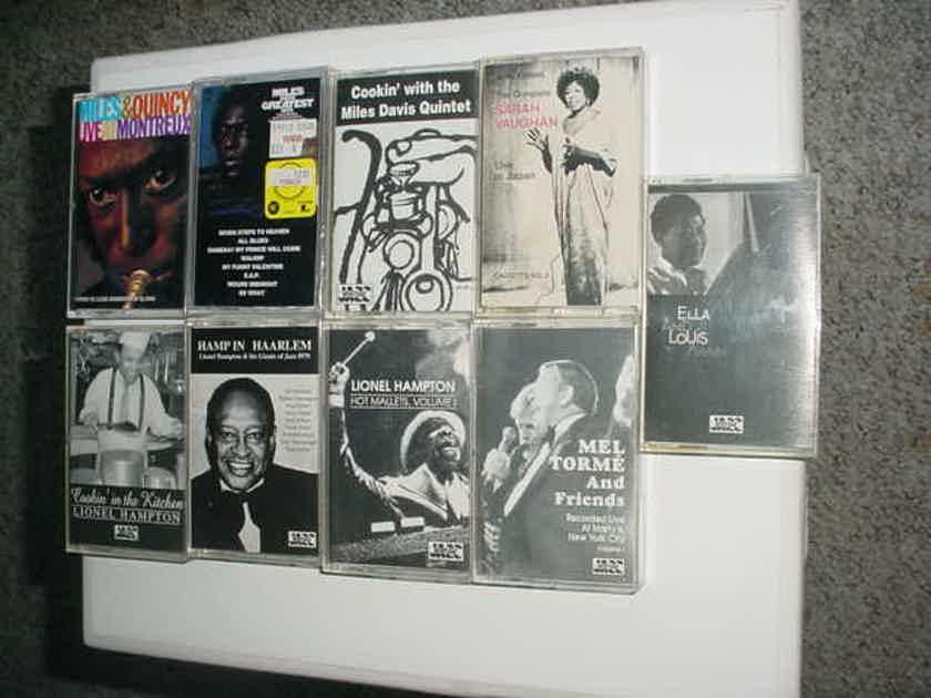 Miles Davis Lionel Hampton Mel Torme Ella Louis  - more lot of 9 jazz audio cassette tapes