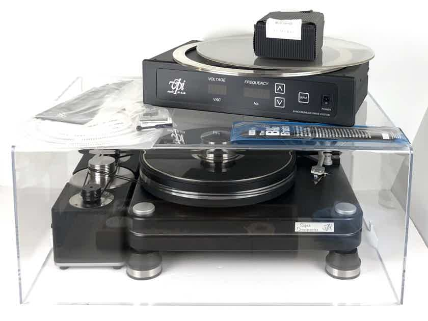VPI Super Scoutmaster Turntable Record Player w/ SDS Power Supply/Line Synchronous Drive System JMW Memorial Tonearm Sumiko Blackbird Cartridge Dust Cover & Accessories