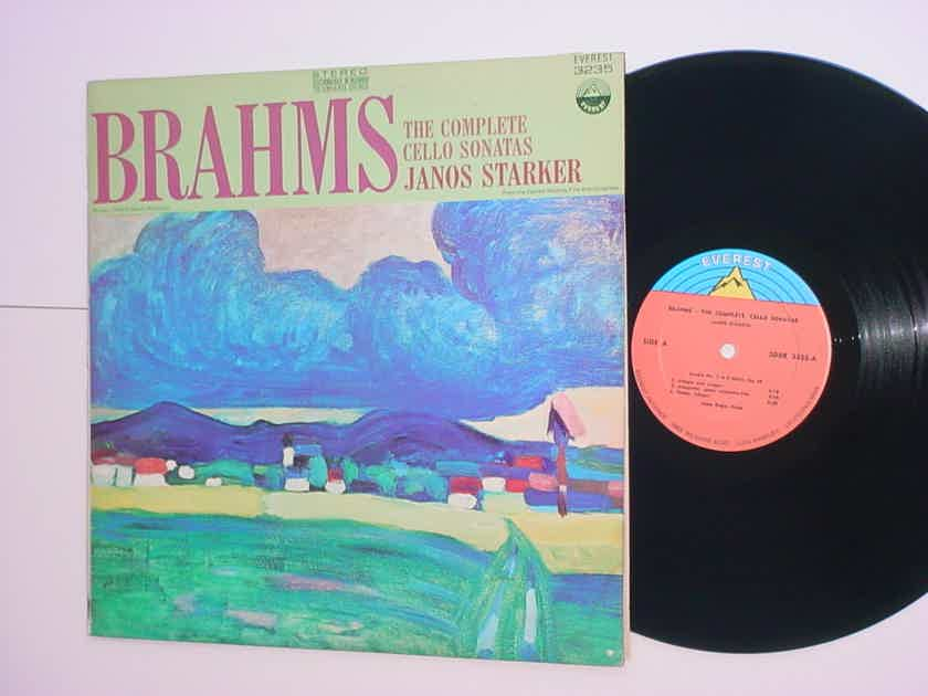 Janos Starker Brahms lp record complete cello sonatas EVEREST 3235 BACK COVER AS IS