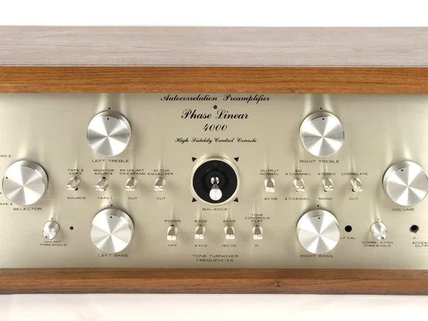 Phase Linear 4000 2-CH Autocorrelation Solid State Stereo PreAmplifier PRE AMP w/ Wood Case Bob Carver