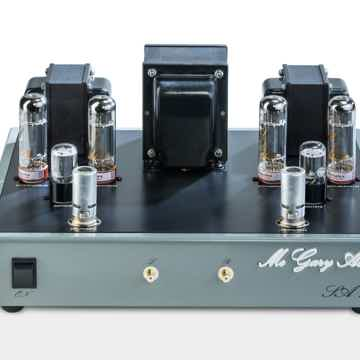 Front view of McGary Audio SA 1 Vacuum Tube Stereo Amplifier with input Tube Covers shown