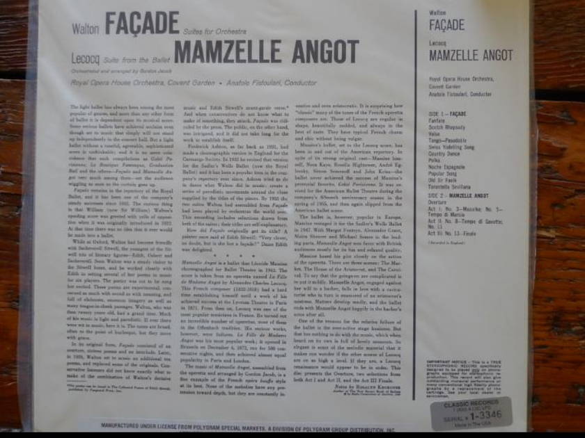 Royal Opera House Orchestra - Facade (Walton) lsc-2285 Classic Records original reissue 180G 1990's Sealed