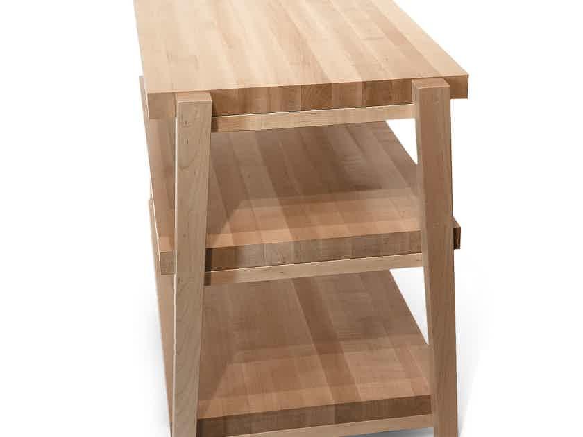 "Butcher Block Acoustics rigidrack™ 48"" X 18"" - 3 Shelf - Maple Shelves - Maple Legs"