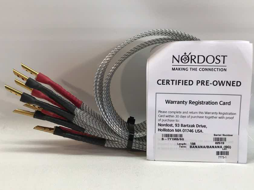 Nordost TYR 1 SPEAKER CABLES, 1.0 METERS, BANANAS, MINT, 1-YR WARRANTY