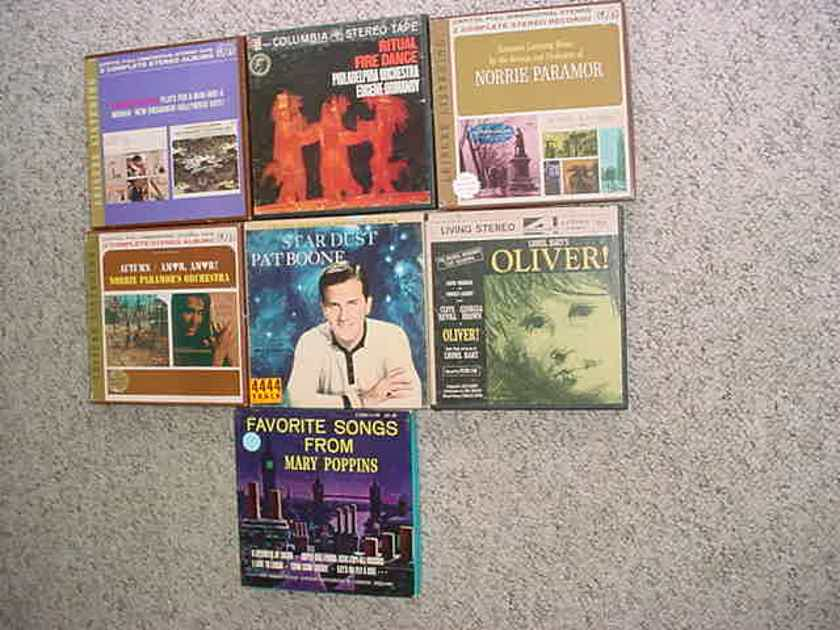 EASY LISTENING  - Reel to Reel tape lot of 7 Pat Boone Oliver Mary Poppins Norrie Paramor