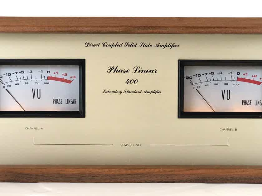 Phase Linear 400 2-CH 210wpc @ 8-Ohms Direct Coupled Solid State Stereo Power Amplifier AMP w/ Wood Case Bob Carver