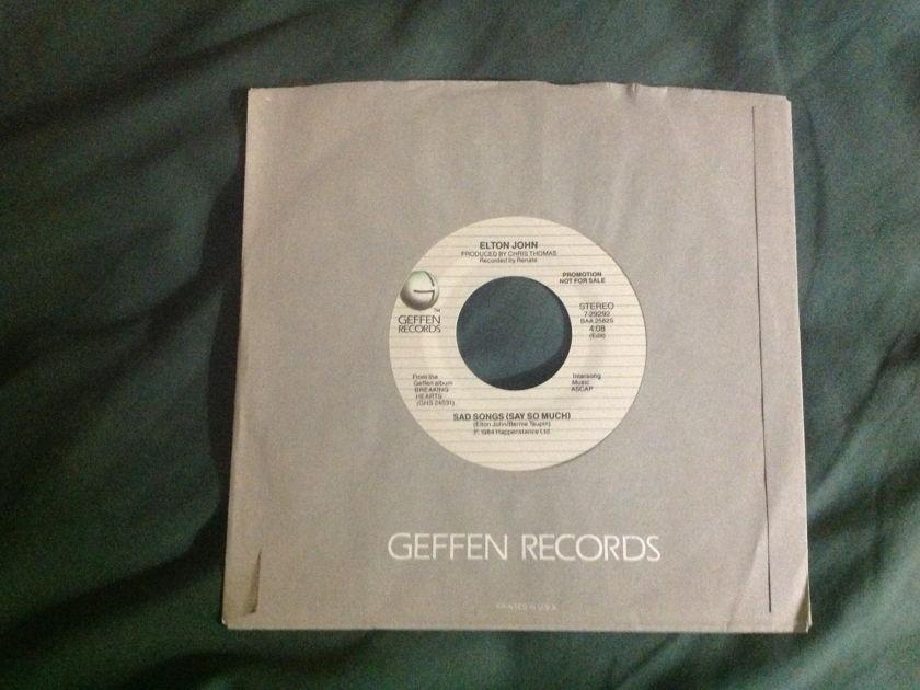Elton John - Sad Songs(Say So Much) Promo 45 NM
