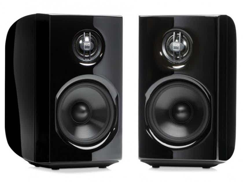 NAD D8020 Bookshelf Speakers; Black Pair w/ PSB PTB-1 Tilt Bases (New) (20423)
