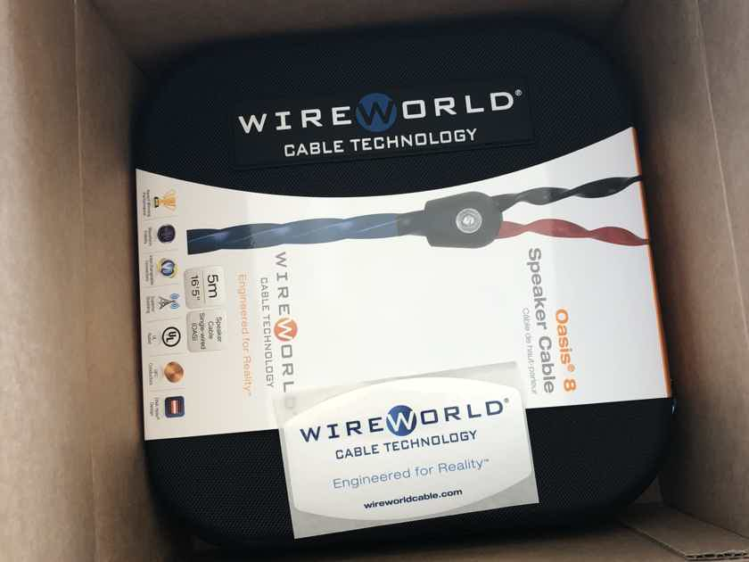 Wireworld Oasis 8 audiophile Speaker Cable Pair 5m / 16.5 ft. Brand New in Box