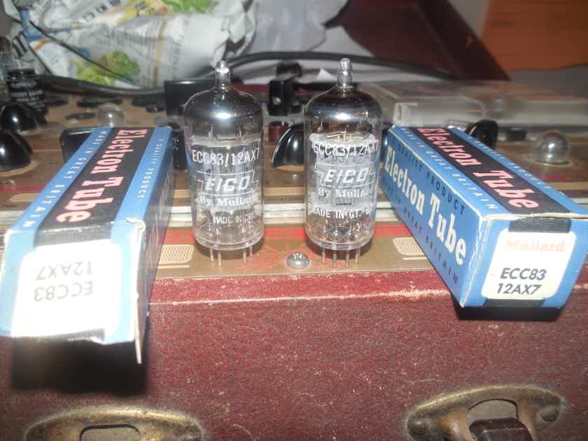 2 new 1959 long plate 2 supported O getter mullard 12ax7 tubes