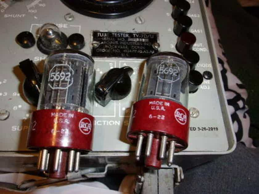 2 new 1956 rca red base 5692 / 6sn7 tubes