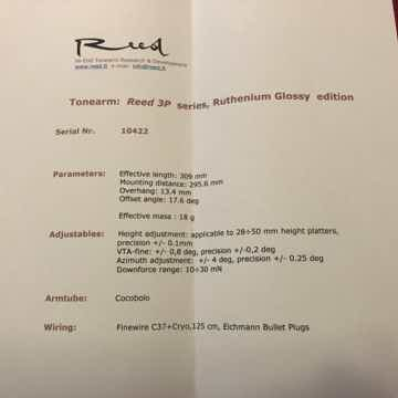 """Reed Tonearms 3P 12"""" NEW Loaded with options"""