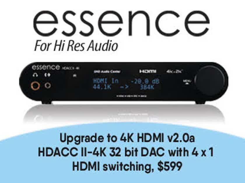 Essence HDACC II-4K HDMI DAC 4 x 1 HDMI v2.0a Switching, USB, Optical, Coaxial, 32 bit/
