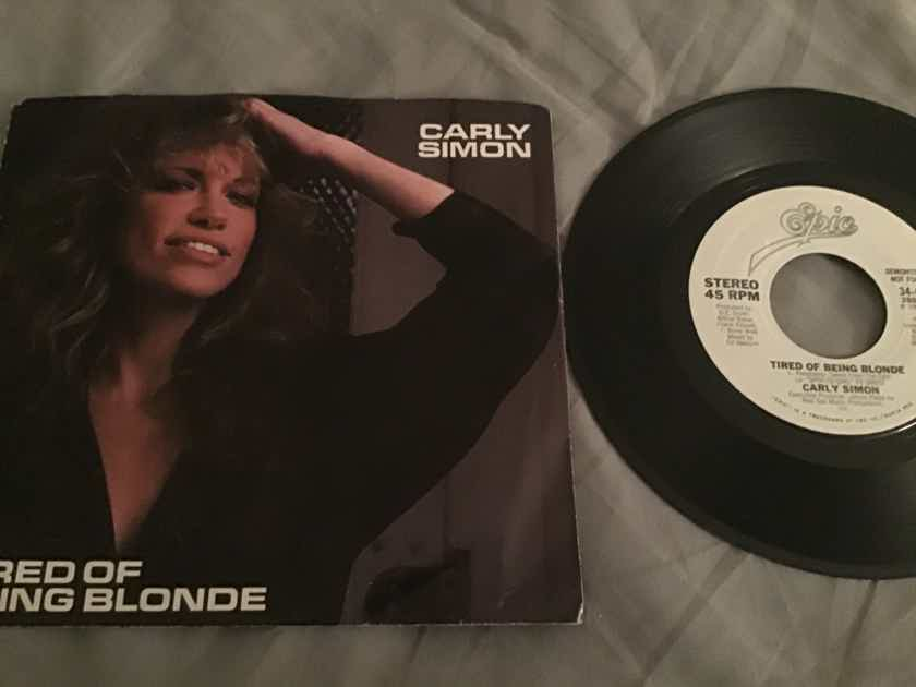 Carly Simon  Tired Of Being Blonde Promo 45 With Picture Sleeve Vinyl NM