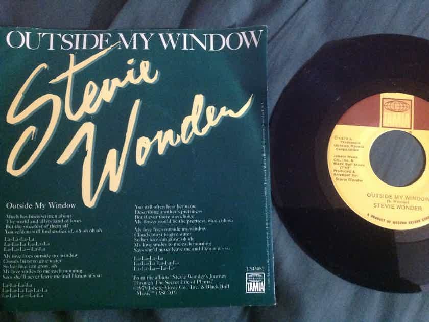 Stevie Wonder - Outside My Window/Same Old Story Tamla Records 45 Single With Picture  Sleeve Vinyl NM