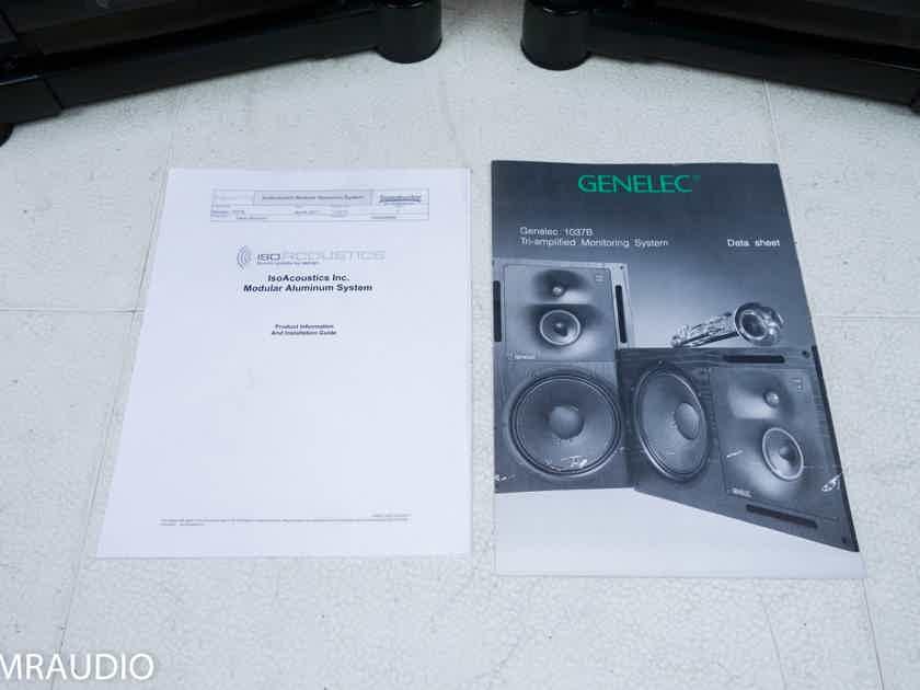Genelec 1037B Active Monitor Speakers; Black Pair; IsoAcoustics Stands (11467)