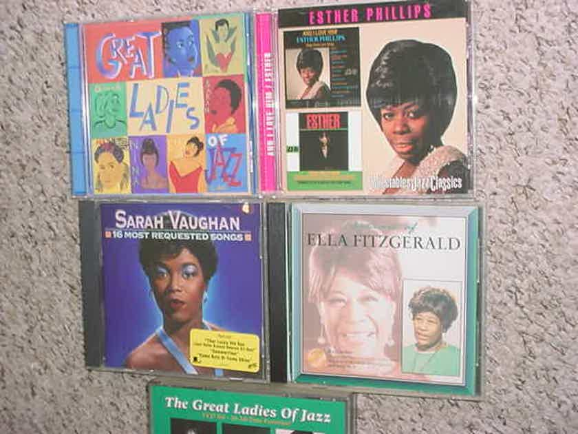 Ladies of jazz  cd lot of 5 cd's  1 is 3 cd set - Ella Fitzgerald Esther Phillips Sarah Vaughan more SEE ADD