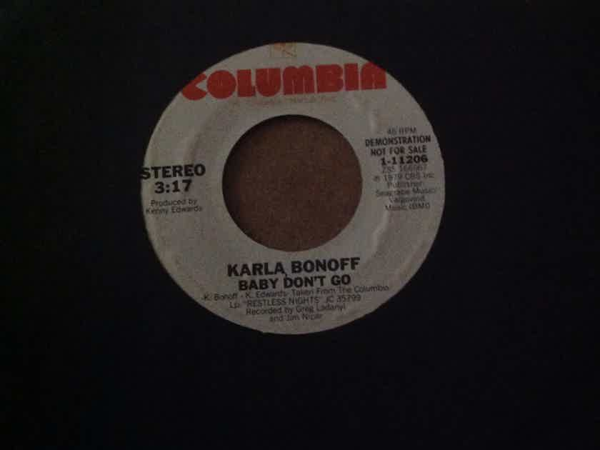 Karla Bonoff - Baby Don't Go Columbia Records Promo 45 Single Vinyl NM