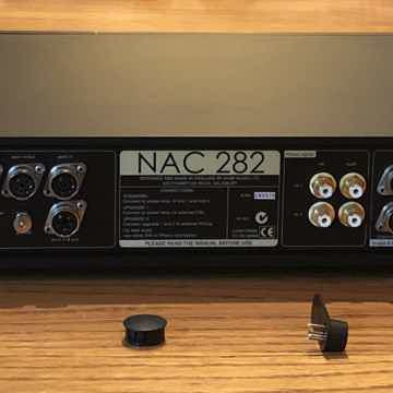 NAC282 Rear, Cap and Jumpers removed.  RCA inputs may optionally be used (instead of DIN) for CD or Aux2.