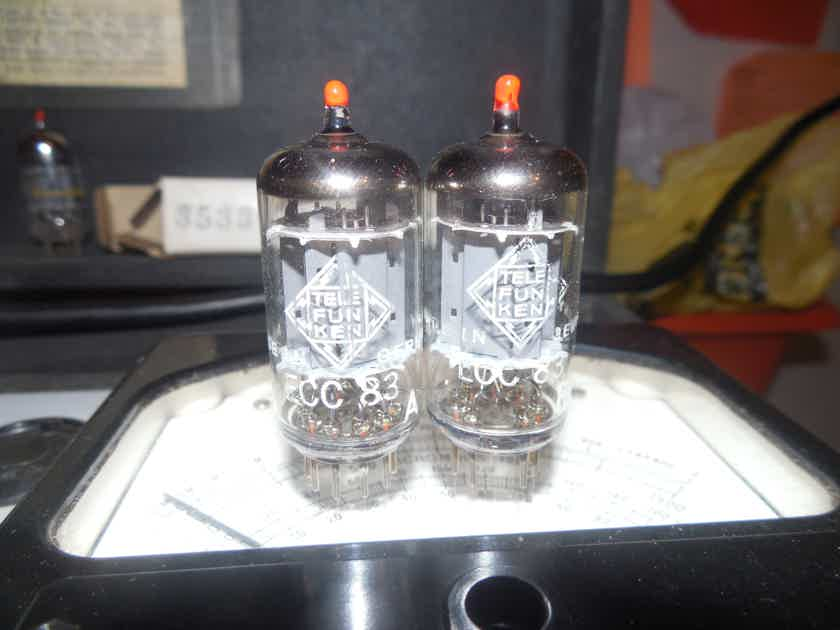 2  tightly matched medical red tip diamond bottom Telefunken smooth plate 12ax7 tubes