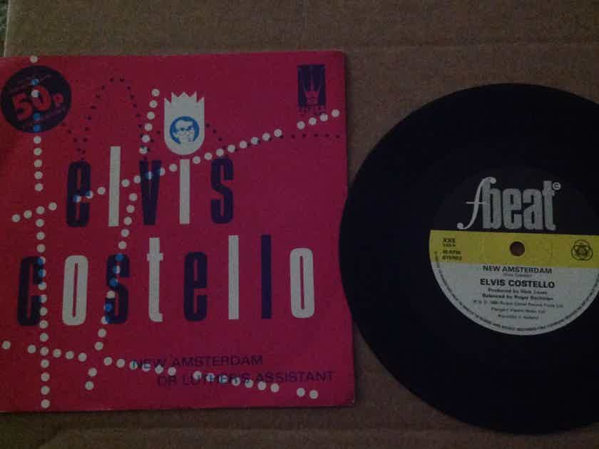 Elvis Costello - New Amsterdam/Dr. Luther's Assistant  F Beat Records U.K. 45 Single With Picture Sleeve Vinyl NM