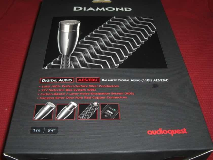 AudioQuest  Diamond AES/EBU Digital Cable 72V DBS *1 Meter* XLRs New In Box