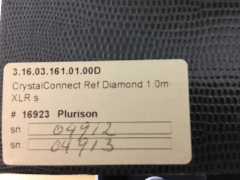 Crystal Cable  CrystalConnect Reference Diamond 1mt, XLR  Price Reduced!!