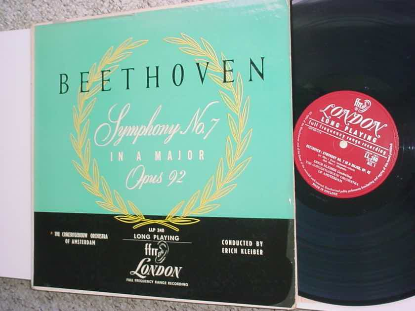 Beethoven symphony NO 7 In A Major opus 92 lp record Erich Kleiber LLP 240 LONDON PROMO SEE ADD
