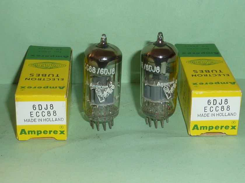 Amperex 6DJ8 ECC88 D Getter Bugle Boy Tubes, Matched Pair, Matched Codes, NOS/NIB Tested