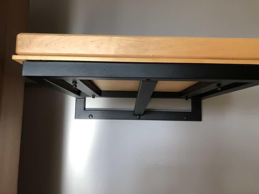 "Rega Turntable Wall Mount Shelf w/2"" Thick Custom Cut Maple Top"