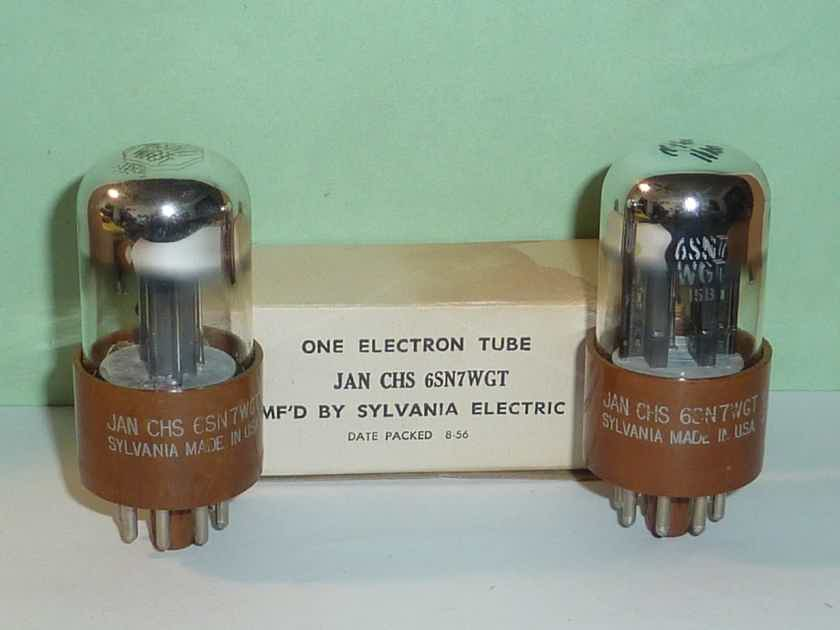 Sylvania JAN-CHS-6SN7W 6SN7GT 6SN7 Mil-Spec Tubes, Matched Pair, Tested, NOS/NIB, Matched Codes