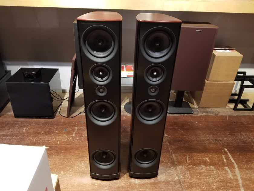 PSB Synchrony One Floor Standing Speakers Dark Cherry w/ Boxes & Grilles