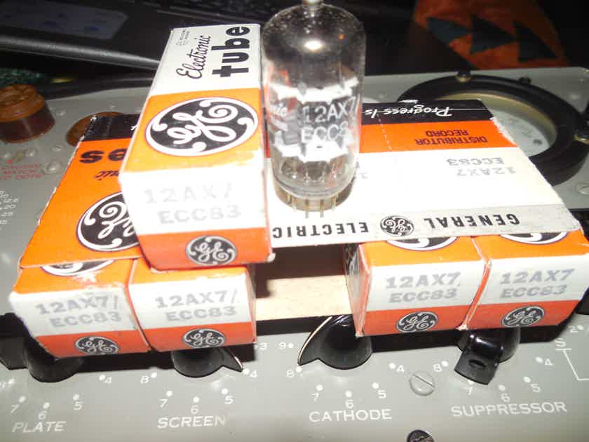5 new in the box general electric ecc83 / 12ax7 tubes
