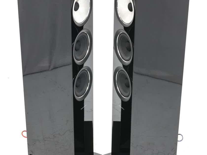 B&W 704 S2 Floorstanding Speakers; Gloss Black Pair; Upgraded Spikes (25806)