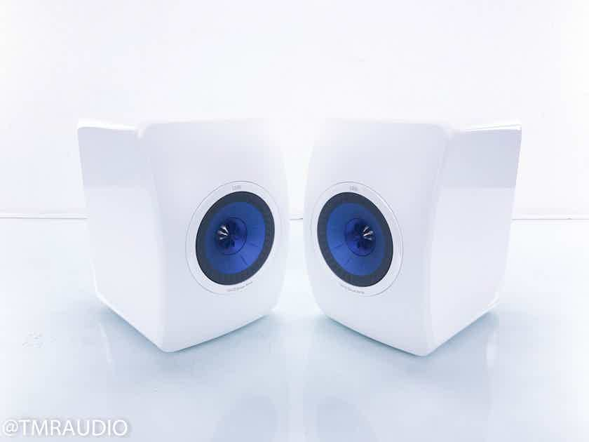 KEF LS50 Bookshelf Speakers White Pair; Blue Uni-Q Driver (13836)