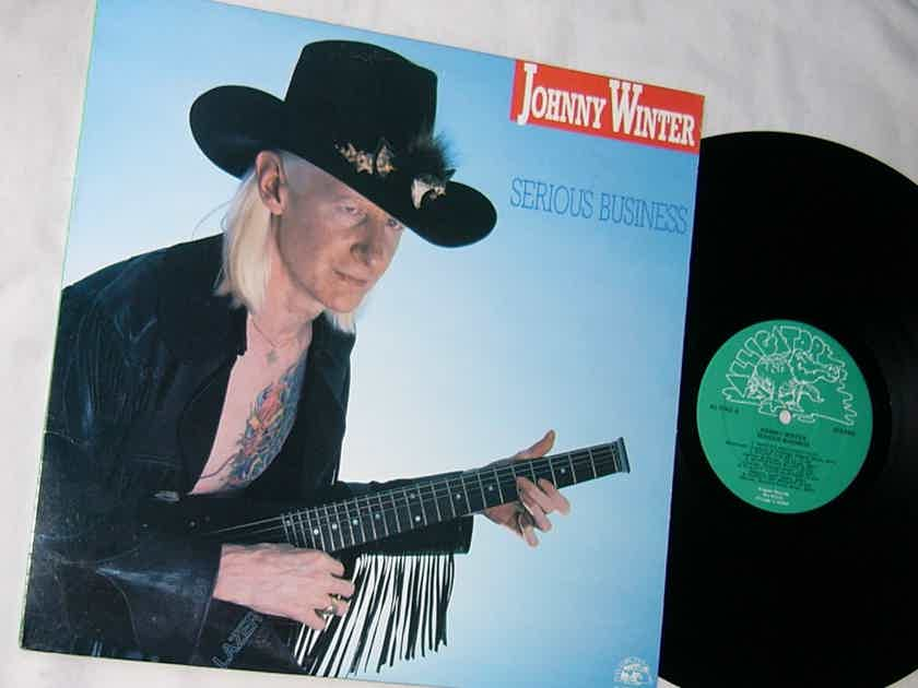 JOHNNY WINTER -  - SERIOUS BUSINESS -  RARE ORIG 1985 BLUES LP - ALLIGATOR