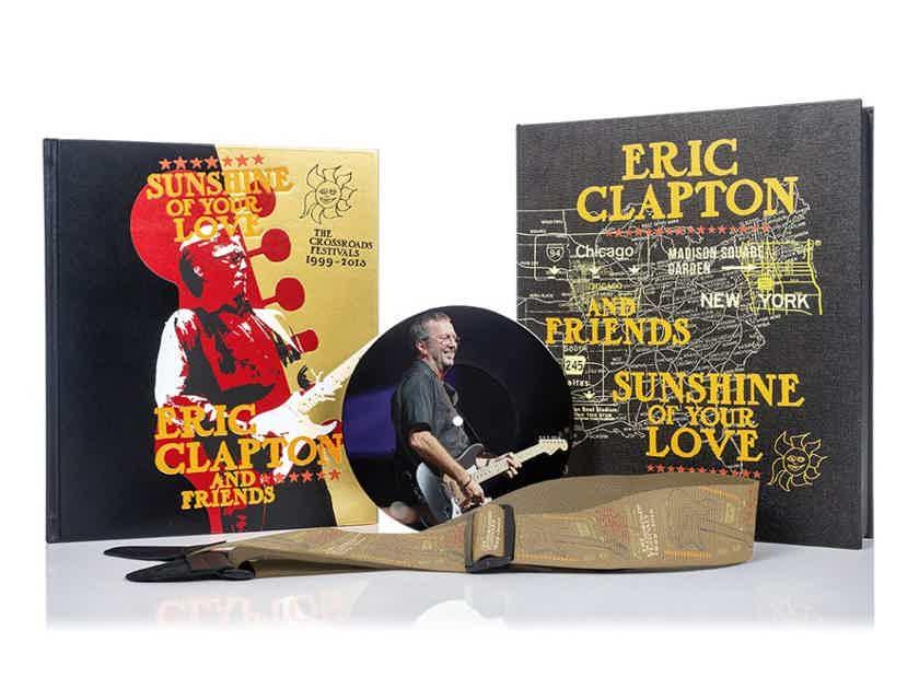 "Eric Clapton, Carlos Santana - SIGNED, DELUXE BOOK ""Crossroads"" + 7"" RECORD + GUITAR STRAP"