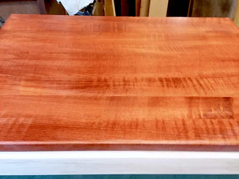 Timbernation Tiger Maple stained Dark Cherry  Isolation Platform, Turntable Platform, & Amp Stand w/ beveled edges