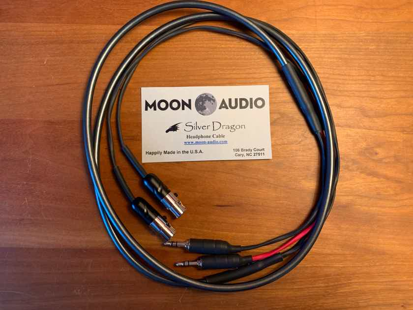 Moon Audio Silver Dragon V3 Headphone Cable for Audeze LCD 3/4 - dual balanced 3.5mm Sony/Ayre Codex/Pono connector