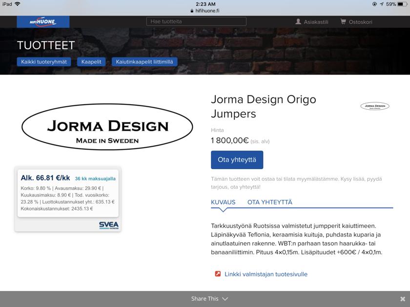 Jorma Design Origo Jumpers Cables ** Mint Condition **