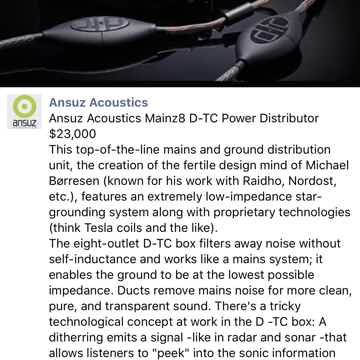 Ansuz Acoustics Mainz 8 D-TC Power Distributor
