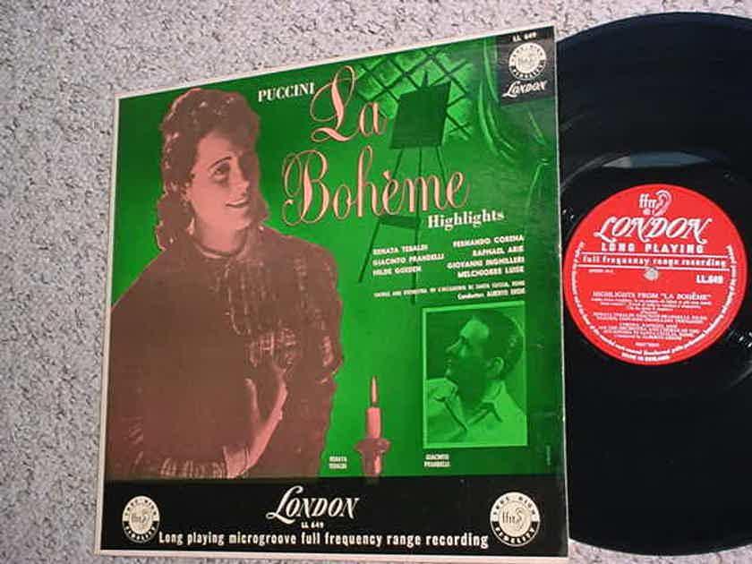 LONDON LL 649 Classical lp record Puccini La Boheme highlights Tebaldi Prandelli