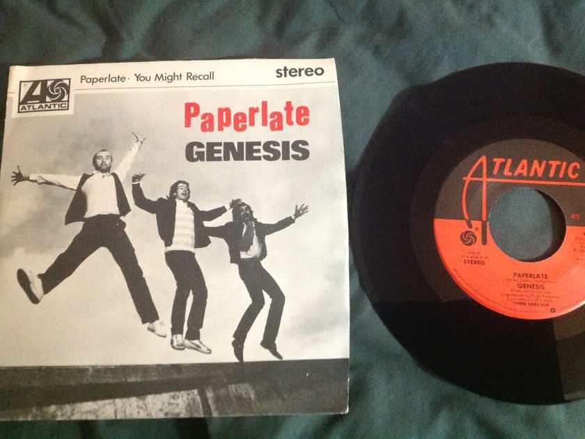 Genesis - Paperlate 45 Single With Picture Sleeve Atlantic Records Vinyl NM