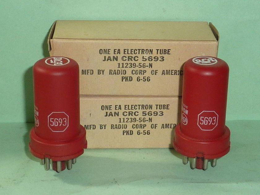 RCA 5693 6SJ7 6SJ7GT Red Tubes, Matched Pair, NOS, NIB, Tested