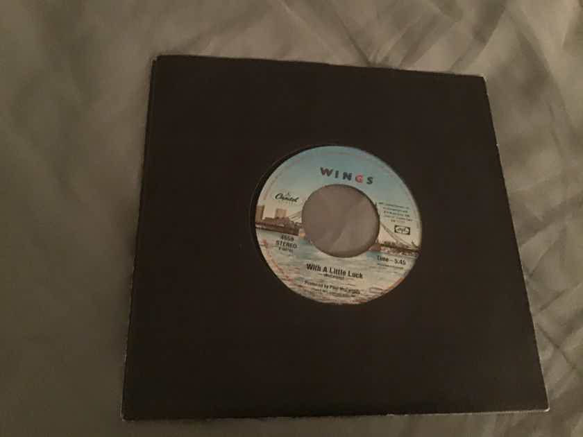 Wings With A Little Luck/Backwards Traveller 45  Vinyl NM
