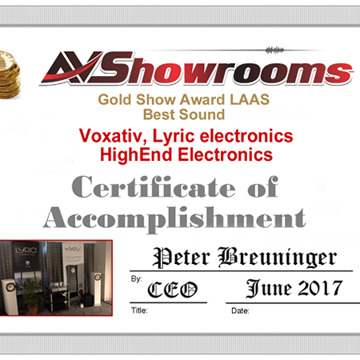 Gold Show Award for Best Sound at the Los Angeles Audio Show 2017