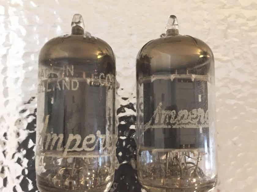 2 excellent premium amperex long gray plate foil D getter 12ax7 tubes