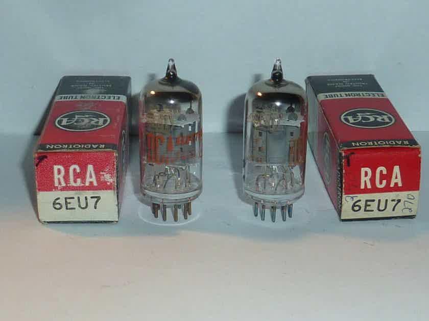 RCA 6EU7 Tubes- Matched Pair, Tested, NOS/NIB