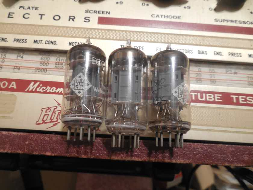 3 excellent diamond bottom telefunken ib plate 12ax7 tubes